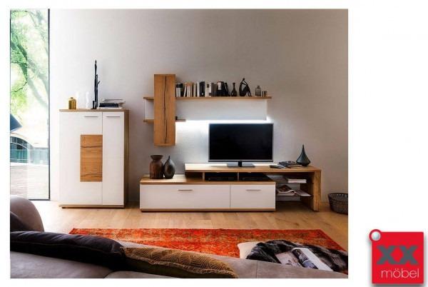 Wohnwand | Nizza | weiß - Crackeiche W02