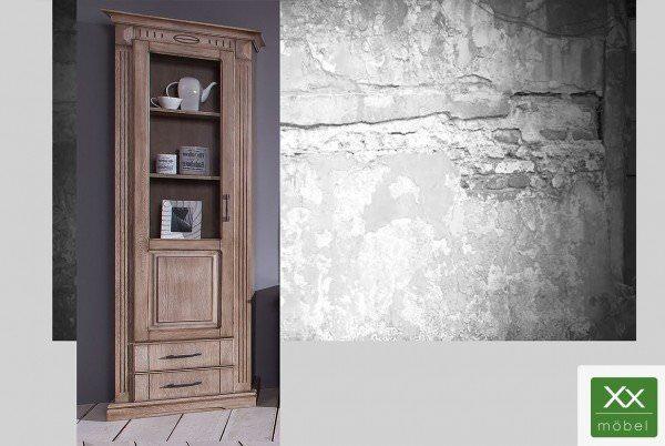 Glasvitrine Landhausstil | Castell | castellfarbig Eiche teilmassiv | T11