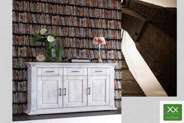 Sideboard | Brooklyn | Antikweiß Pappelholz teilmassiv T03