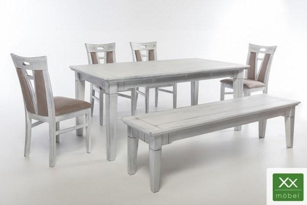 Tischgruppe mit Bank | Brooklyn | Antikweiß Pappelholz teilmassiv T03