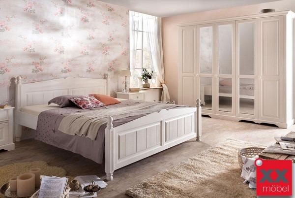 schlafzimmer landhausstil weiß | pisa | romantik massivholz stil | p02 - Schlafzimmer Weis Massiv