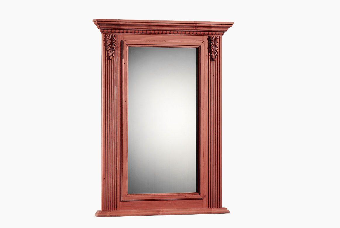 Abbildung Landhaus Spiegel massiv Fichte Alina weiß gewischt lackiert.