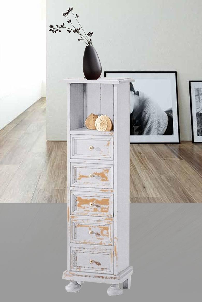 Abbildung Landhaus Hochkommode massiv Fichte Alina vintage lackiert.
