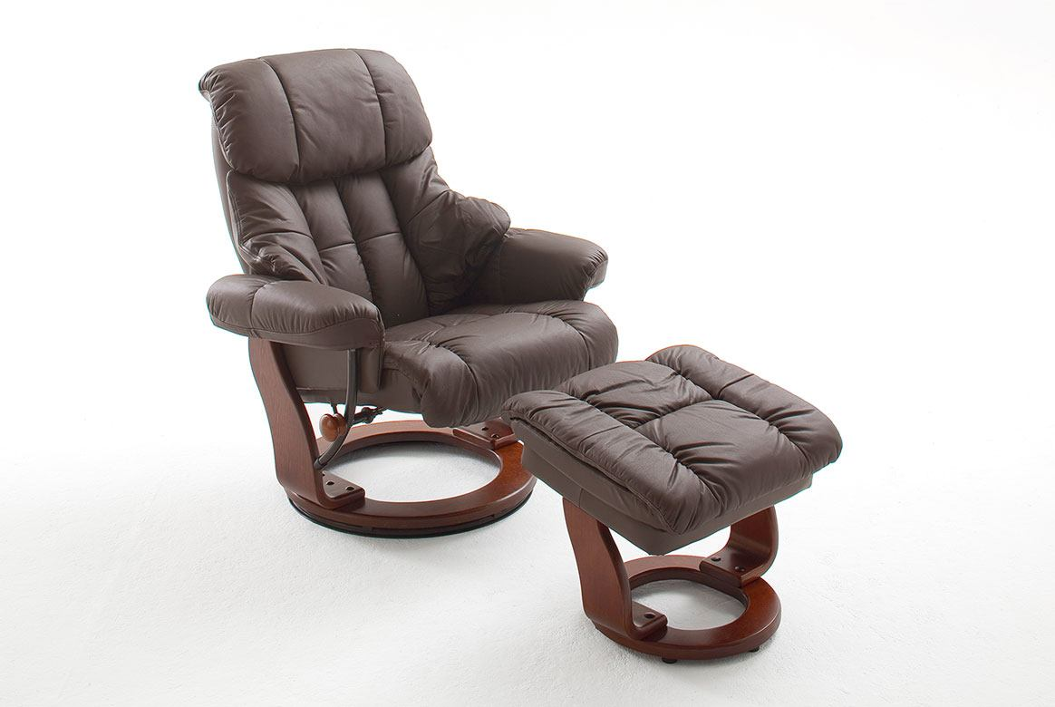 Abbildung Relaxsessel Leder braun Gestell Natur inkl. Hocker Calgary | BK5
