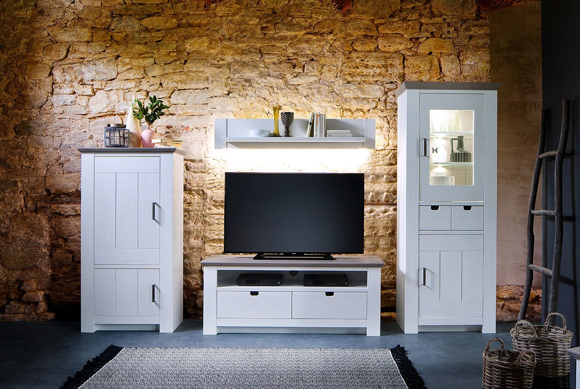 Abbildung Wohnzimmer Massivholz Landhausstil weiß mit Highboard Linksanschlag Palma | T21