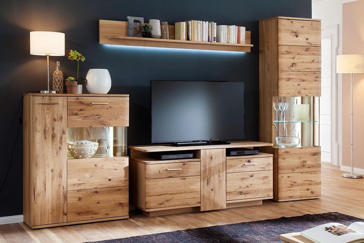 Wohnwand massivholz wohnwand santori asteiche bianco w for Moderne wohnwand massivholz