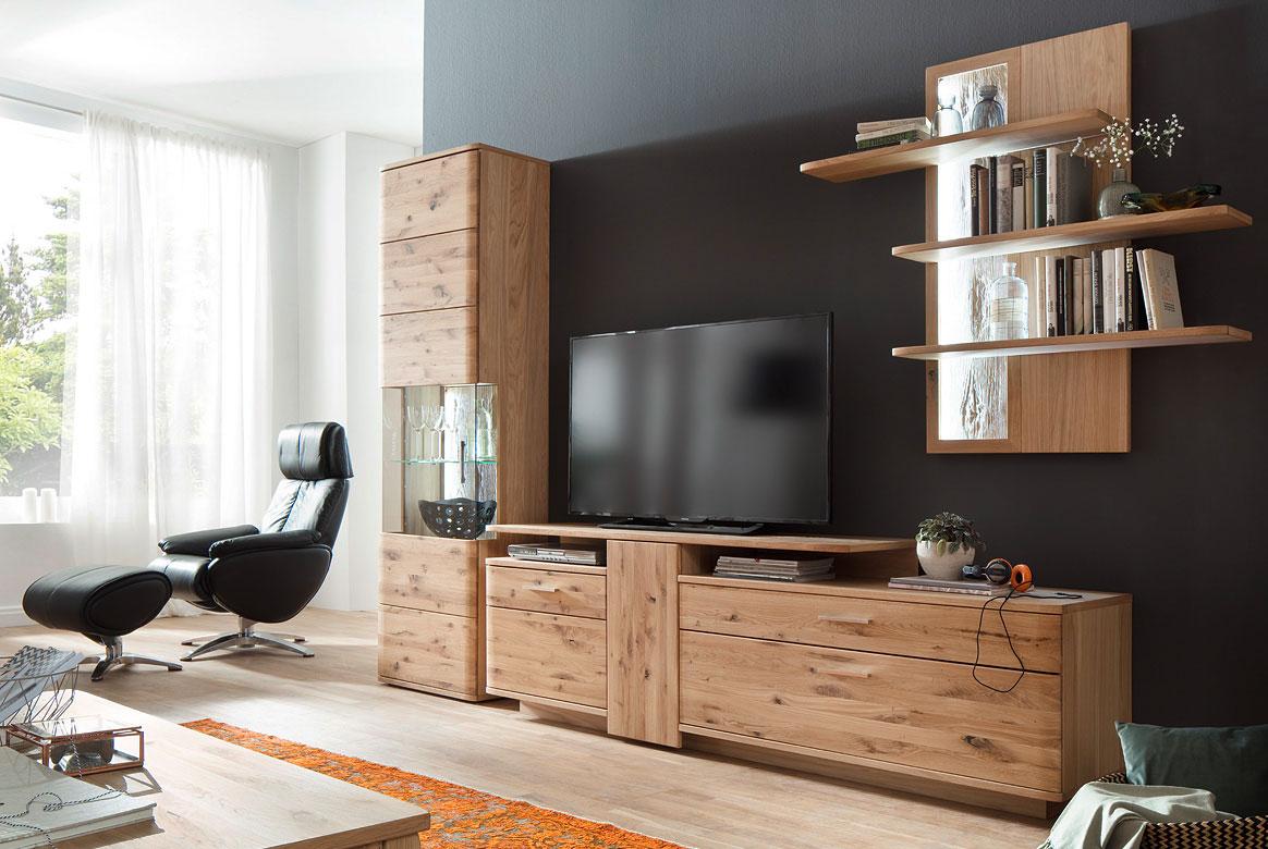 wohnwand holz dunkel, massivholz wohnwand online kaufen | xxmÖbel, Design ideen
