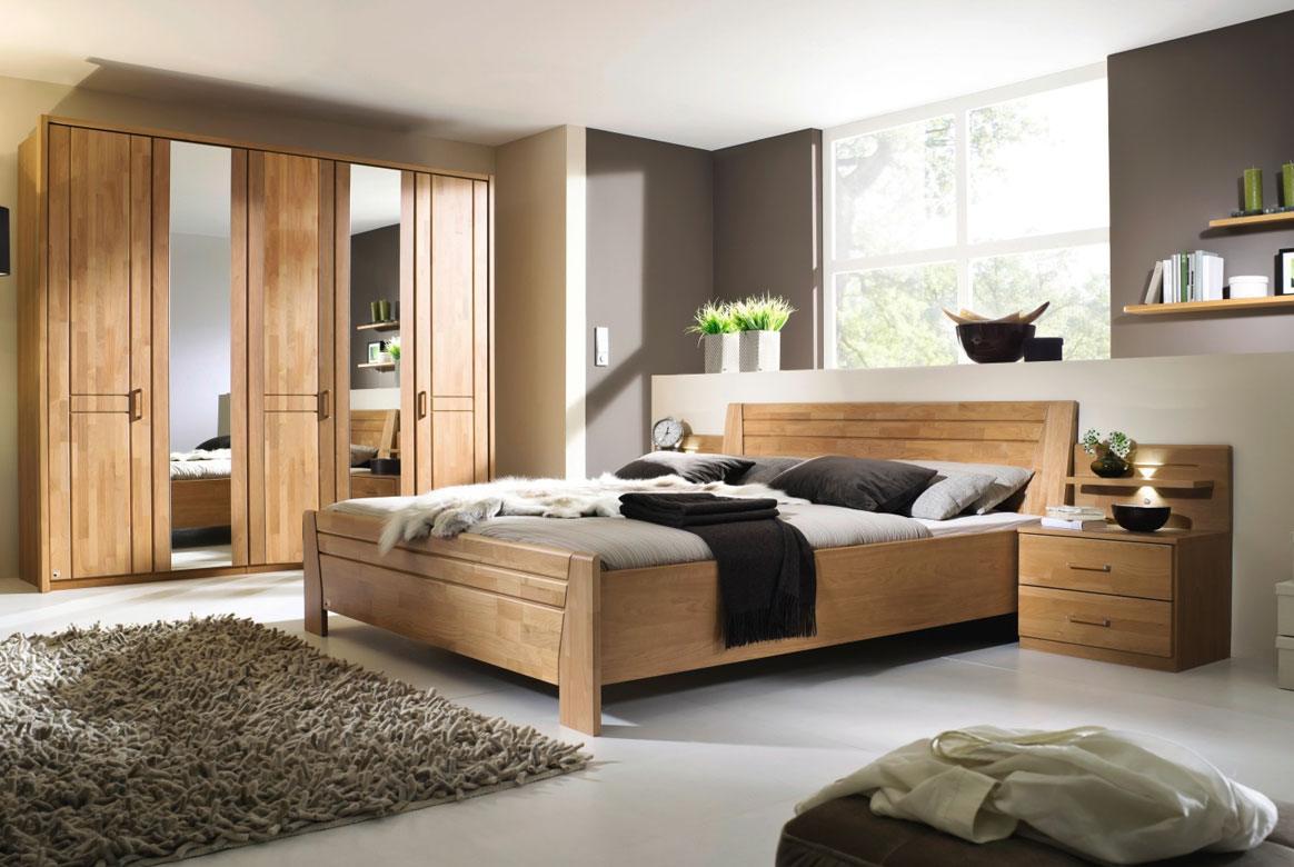 Abbildung Schlafzimmer teilmassiv | Standardbett 180x200 u. Schrank 5-trg. mit 2 Spiegel Front Erle Sitara | B71