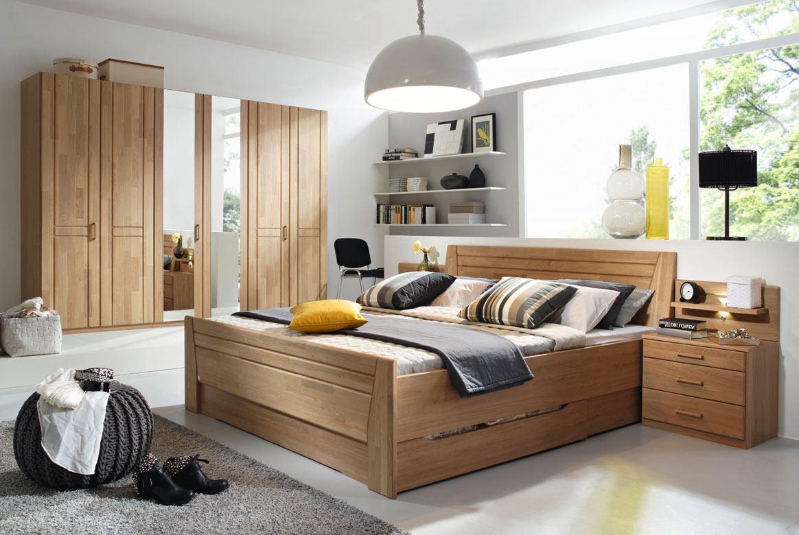 Abbildung Schlafzimmer Wildeiche Komfortbett 180x200 u. Kleiderschrank 6-trg. mit 2 Spiegel Sitara | W55