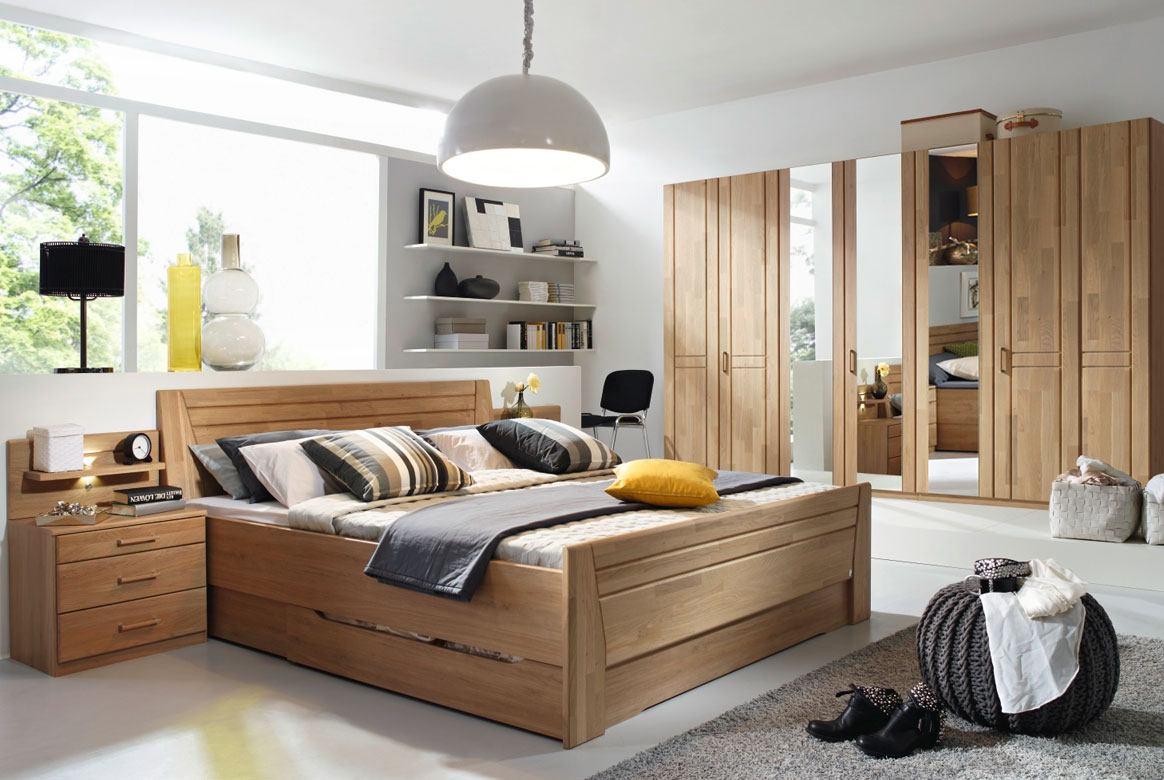 Abbildung Schlafzimmer Wildeiche mit Komfortbett 180x200 u. Kleiderschrank 7-trg. 3 Spiegel Sitara | W59