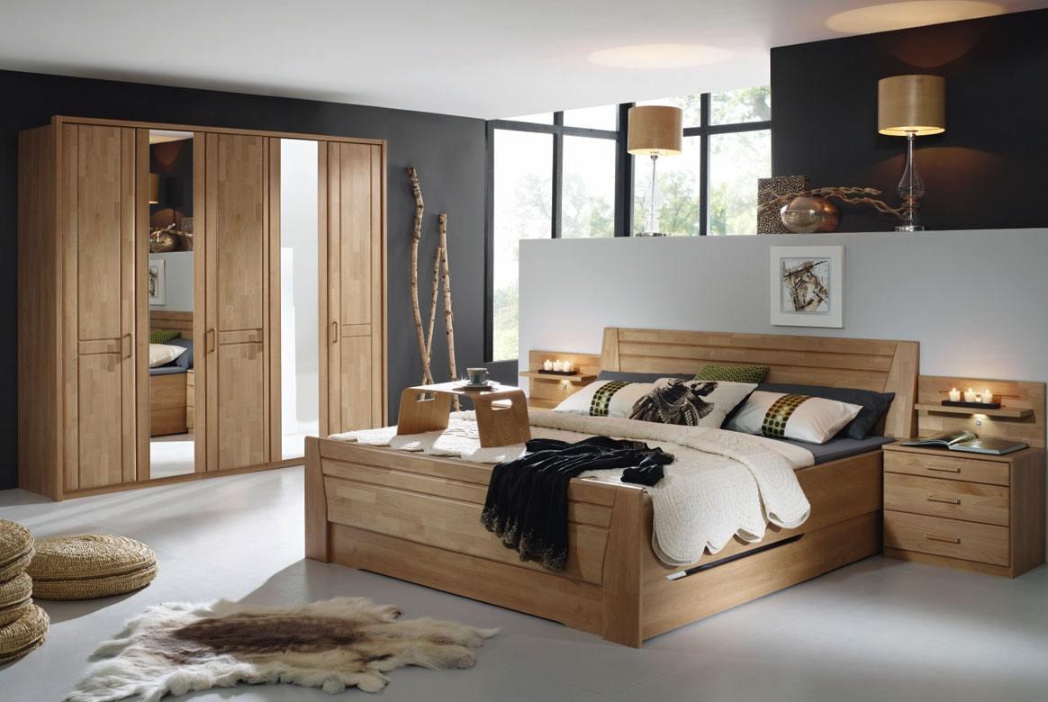 Abbildung Schlafzimmer Wildeiche mit Komfortbett 180x200 u. Kleiderschrank 5-trg. 1 Spiegel Sitara | W71