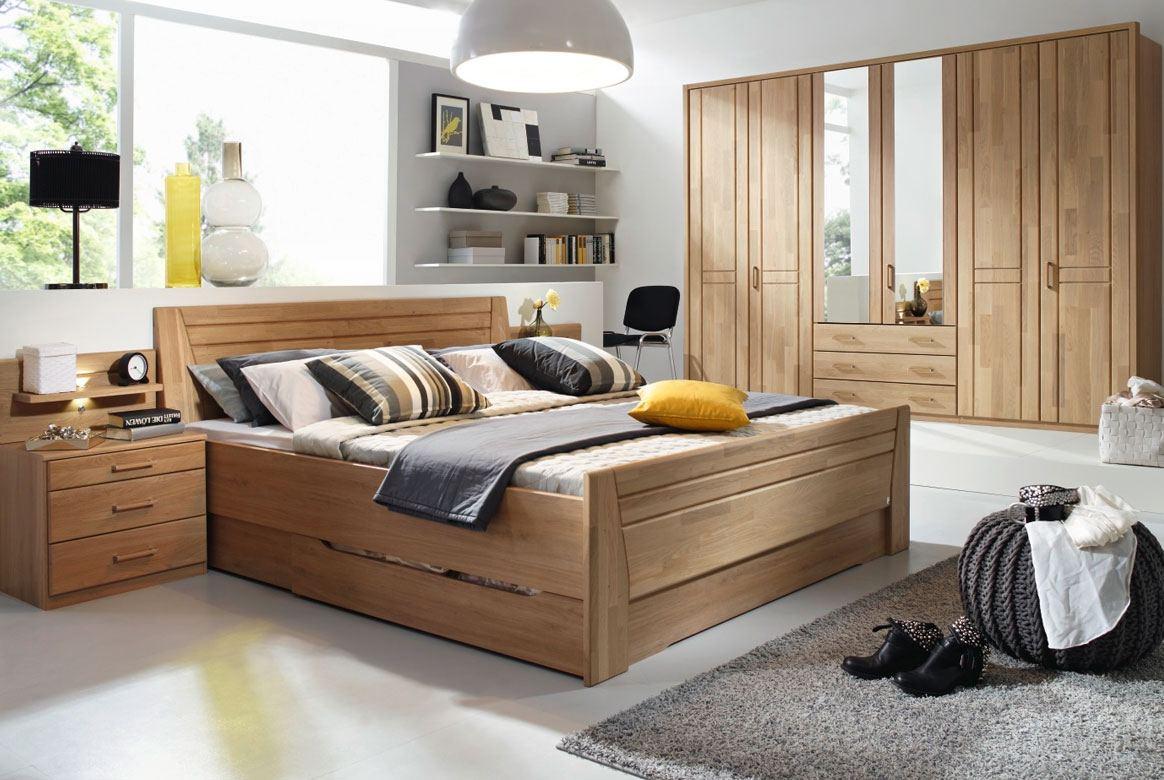 Abbildung Schlafzimmer Wildeiche Komfortbett 180x200 u. Kleiderschrank 6-trg. mit 2 Spiegel Sitara | W83