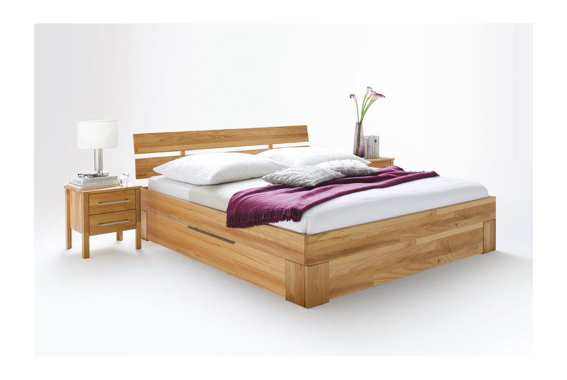 Massivholz Bett 140 bis 200 cm mit Schuhbkästen Zenna