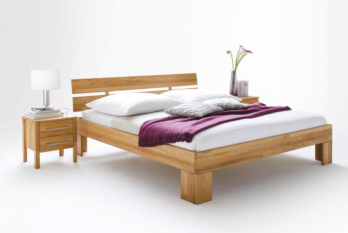 Massivholz Bett von 140 - 200 cm mit Holz Kopfteil Zenna | S40