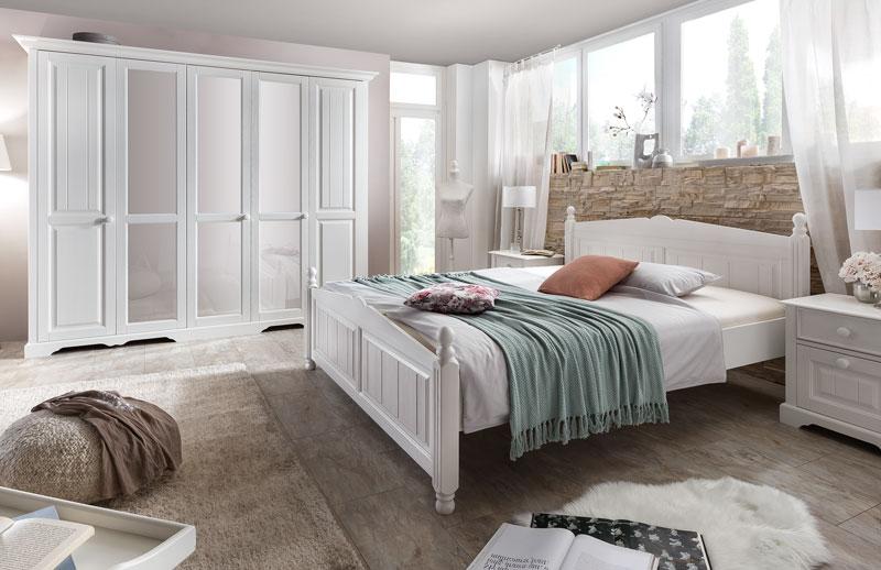 Abbildung Landhausstil Schlafzimmer Weiss Teilmassiv Kiefer | Pisa