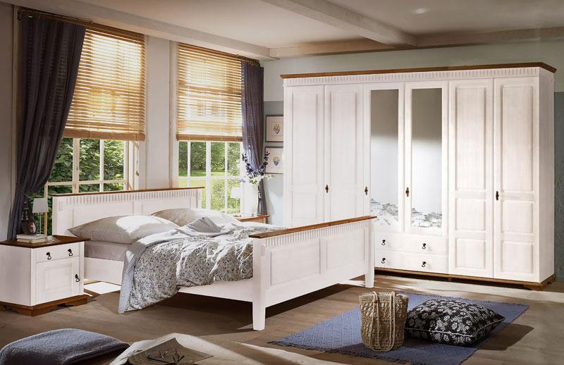Abbildung Landhausstil Schlafzimmer Massivholz Kiefer Weiß Honig | Valencia