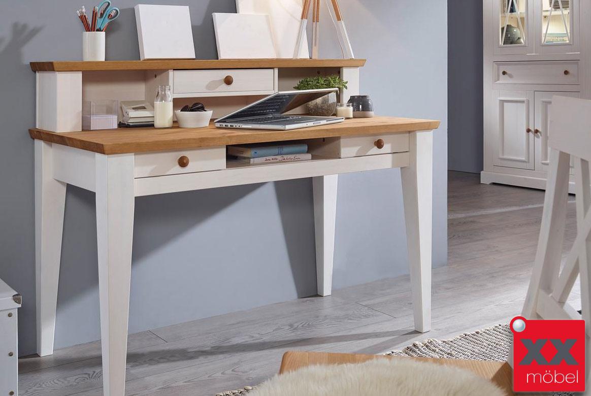 schreibtisch landhausstil wei windsor kiefer massivholz t07. Black Bedroom Furniture Sets. Home Design Ideas