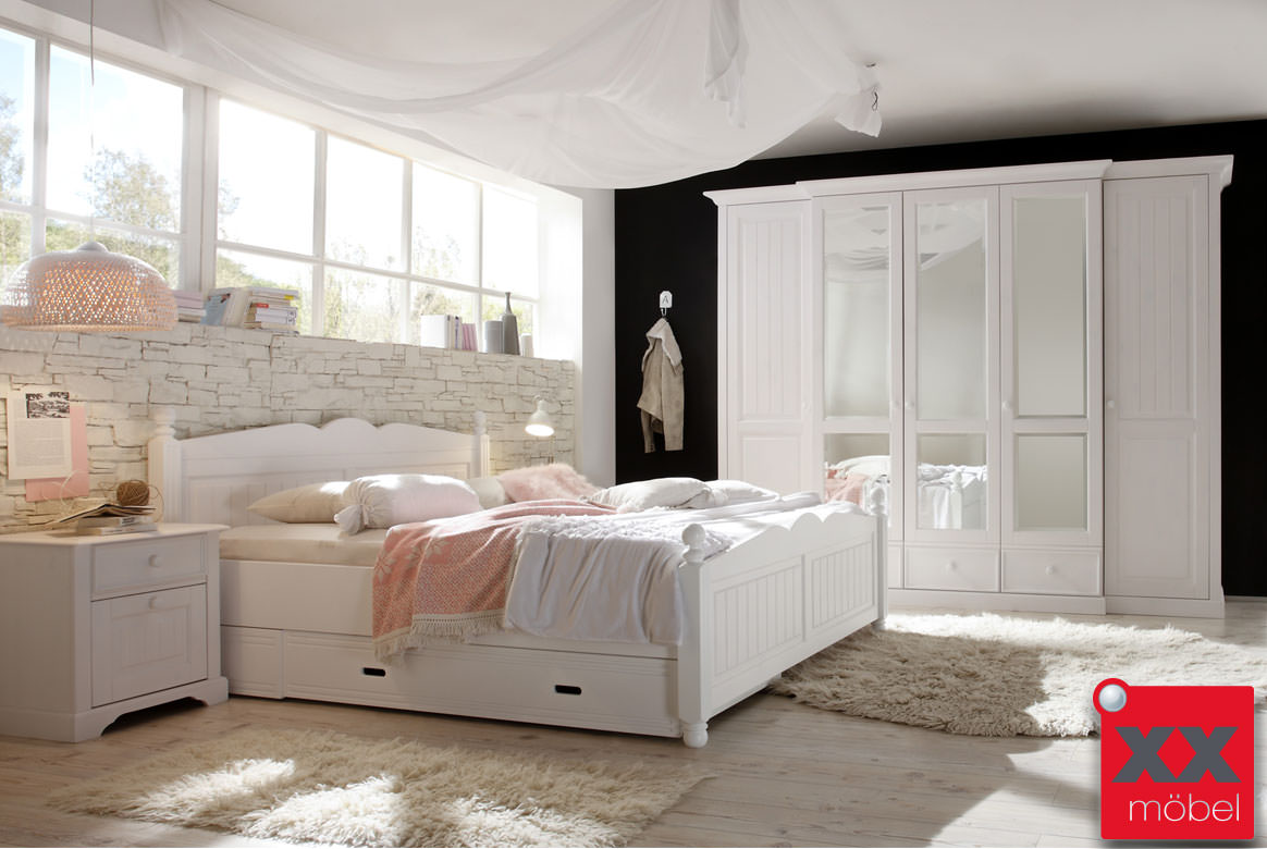 landhausstil schlafzimmer komplett cinderella front massiv w02. Black Bedroom Furniture Sets. Home Design Ideas