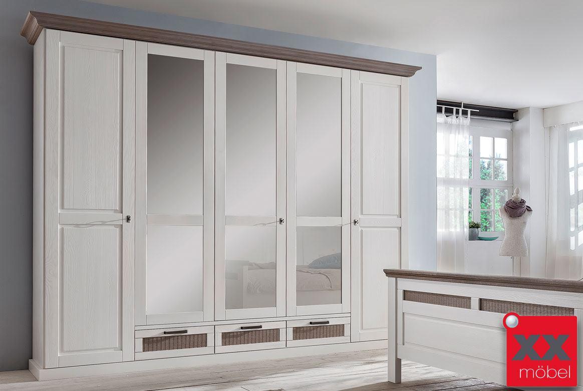kleiderschrank landhausstil wei lugano romantik schlafzimmerschrank t4 ebay. Black Bedroom Furniture Sets. Home Design Ideas