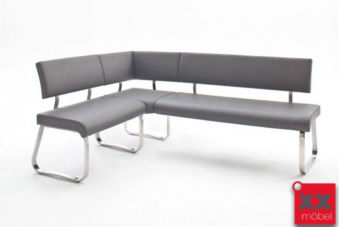 Eckbank modern | Arco | Echtleder grau | EK3