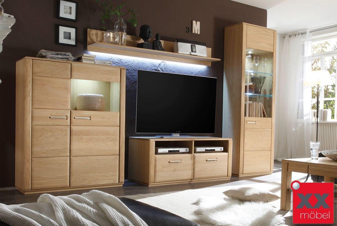 wohnwand komplett modern sena kernbuche o eiche massiv w11. Black Bedroom Furniture Sets. Home Design Ideas
