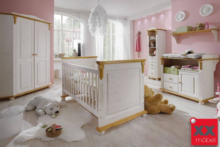 babyzimmer landhausstil komplett romantik kiefer weiss. Black Bedroom Furniture Sets. Home Design Ideas