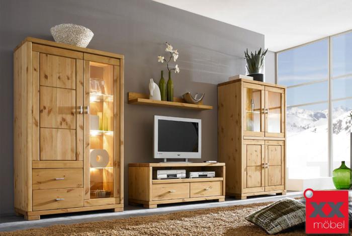 wohnwand landhausstil guldborg vita massivholz kiefer w11. Black Bedroom Furniture Sets. Home Design Ideas