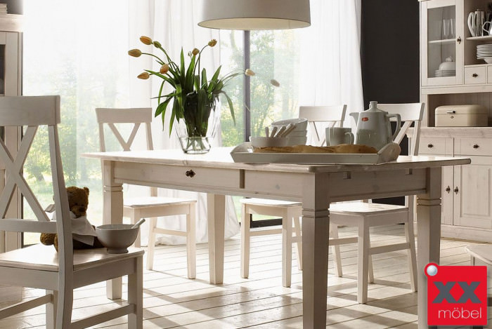 Tischgruppe Massivholz | 7-tlg. | Linea | Kiefer massiv | K11