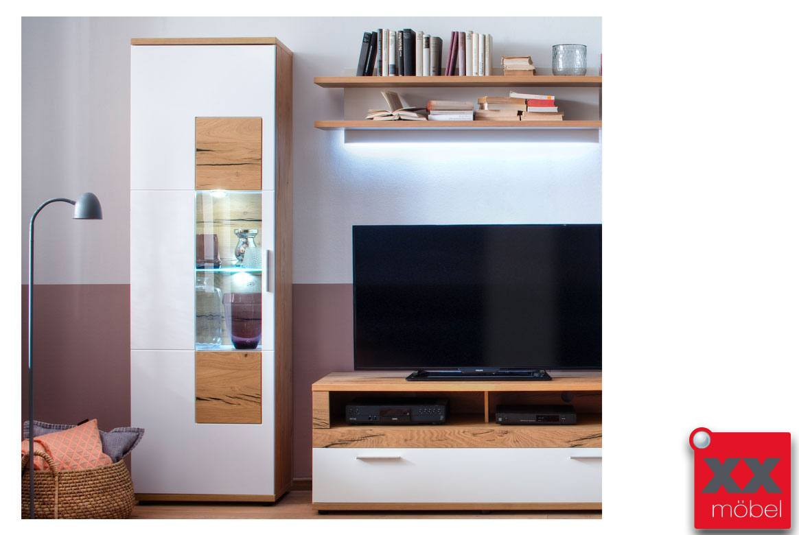 vitrine wei matt nizza vitrine furniert crackeiche t10. Black Bedroom Furniture Sets. Home Design Ideas