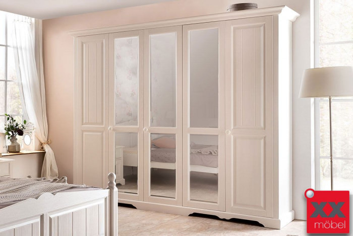 Kleiderschrank Landhausstil weiß 5 türig | Pisa | Front Massivholz | D25