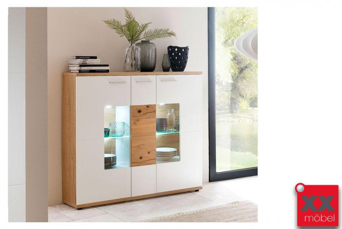 Highboard | Nizza | weiß - Crackeiche | T06