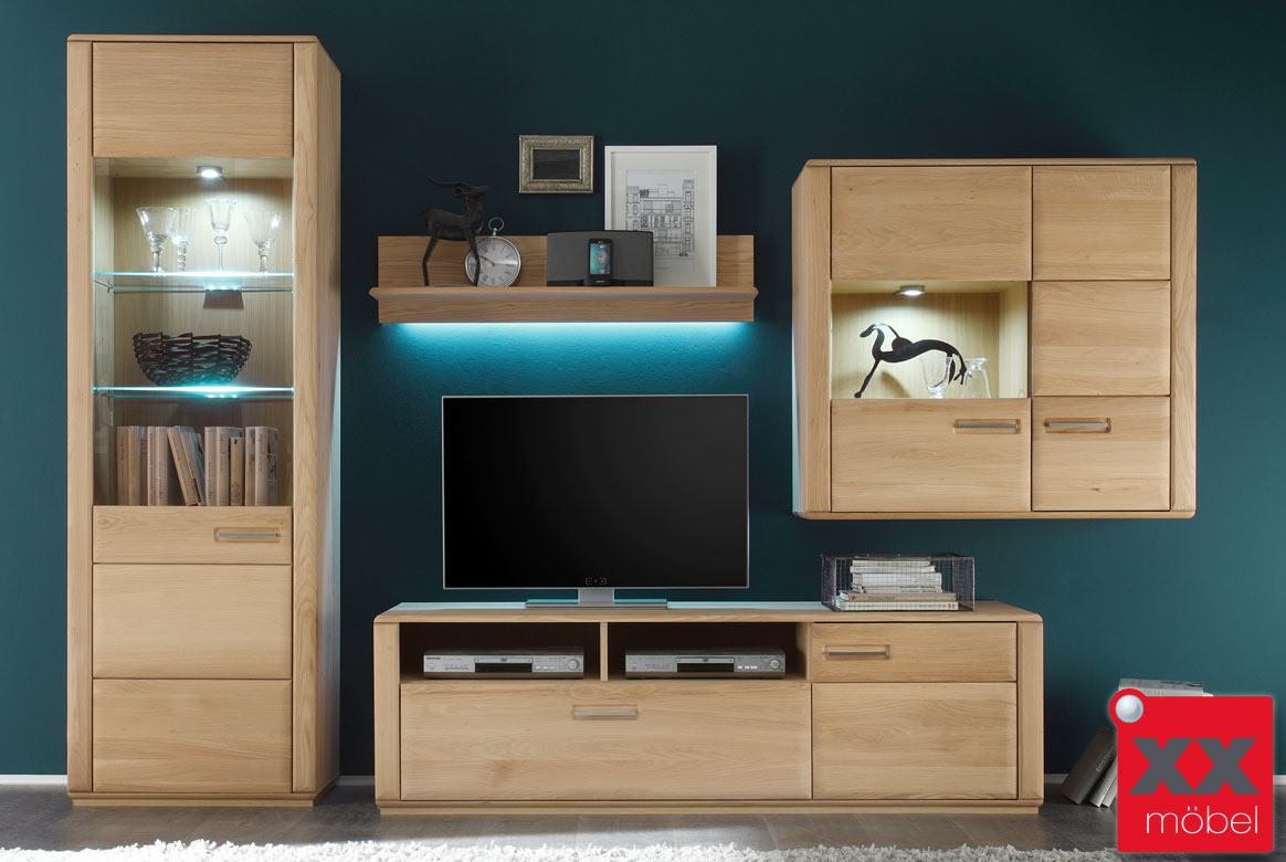 wohnwand komplett modern sena kernbuche o eiche w02. Black Bedroom Furniture Sets. Home Design Ideas