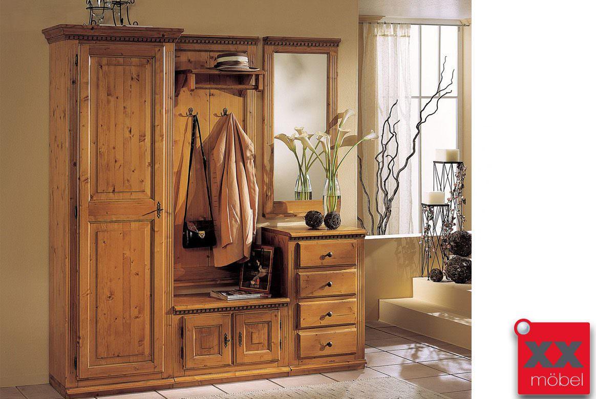 garderoben set landhausstil valentina fichte massivholz k03. Black Bedroom Furniture Sets. Home Design Ideas