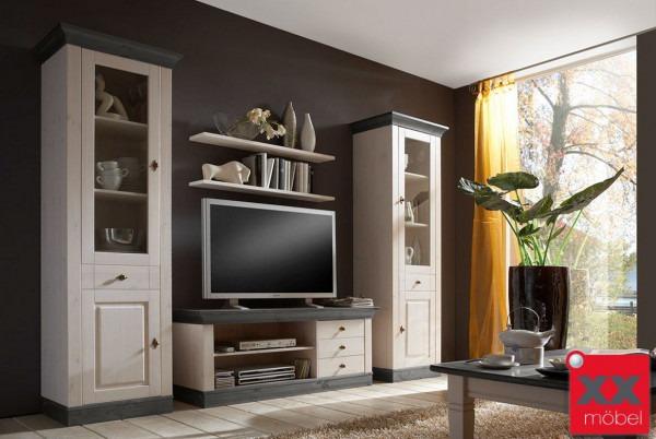wohnwand landhausstil linea kiefer massivholz w03. Black Bedroom Furniture Sets. Home Design Ideas