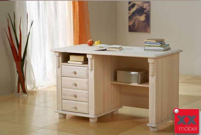 Schreibtisch weiss gewachst | Roma | Kiefer Massivholz | T11