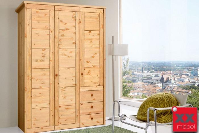 Kleiderschrank 3 trg. | Rauna - Vita | Kiefer massiv | SK290