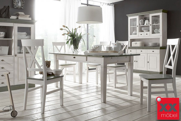 Tischgruppe Landhausstil | 7-tlg. |  Linea | Kiefer Massivholz | 716-7G