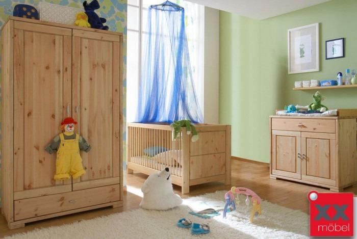 Babyzimmer | 3-tlg. | Guldborg - Vita | Kiefer Massivholz | B03