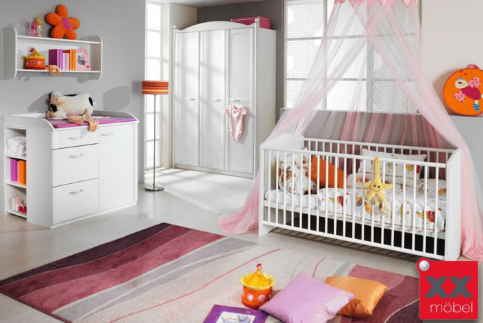 baby kinderzimmer komplett weiss lilly romantik stil w35. Black Bedroom Furniture Sets. Home Design Ideas