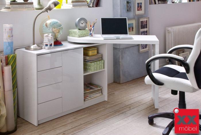 schreibtisch weiss hochglanz mattis mdf platte t26. Black Bedroom Furniture Sets. Home Design Ideas