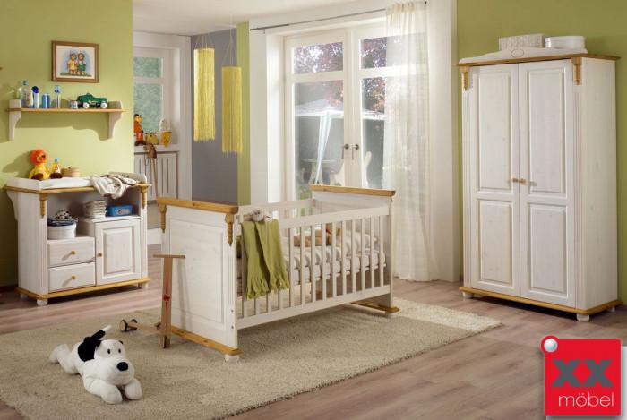 Babyzimmer weiß | 3-tlg. | Roma | Kiefer Massivholz | R02