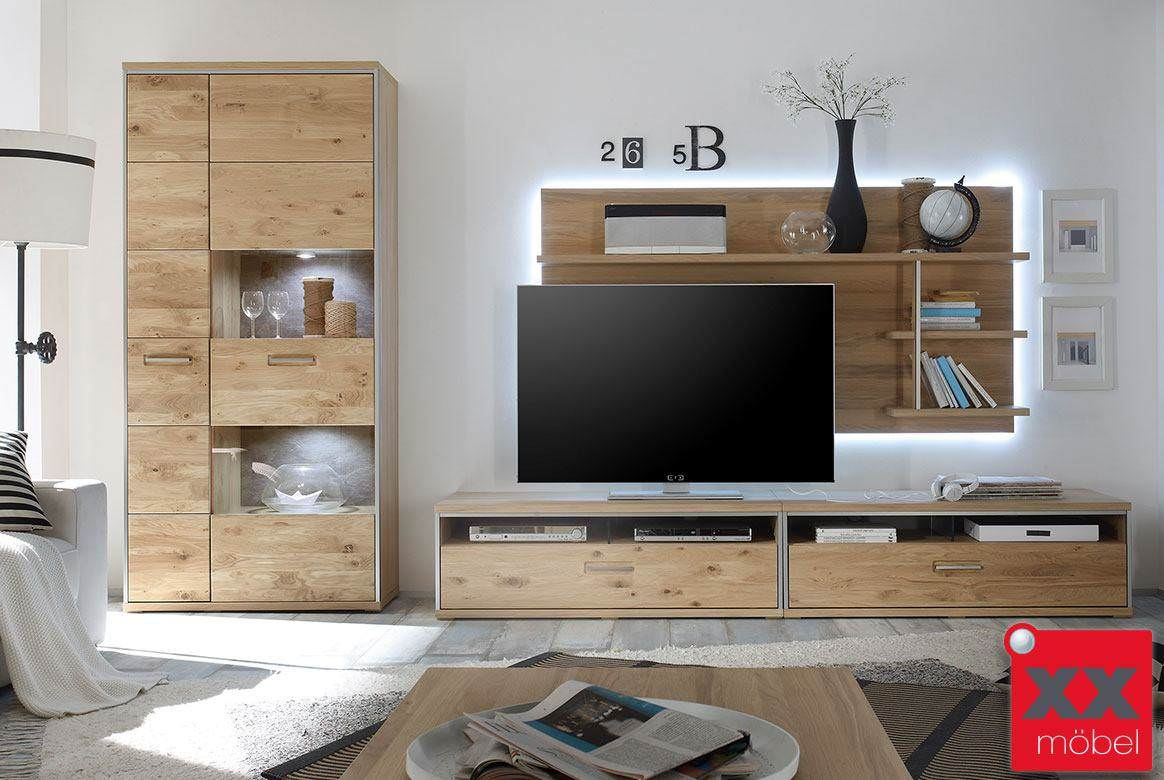 wohnwand komplett moden espero eiceh teilmassiv w03. Black Bedroom Furniture Sets. Home Design Ideas