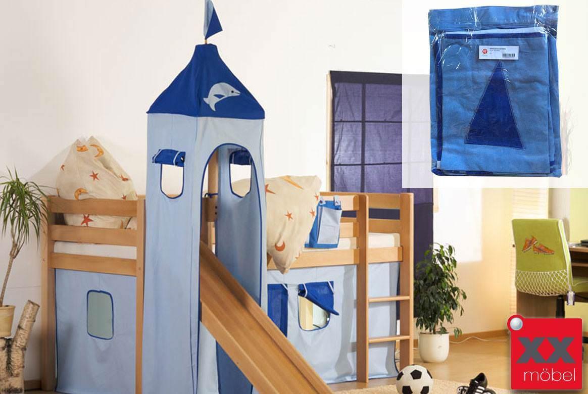 Stoffset Delphin blau | Für Alex Hochbetten mit Turm | Relita