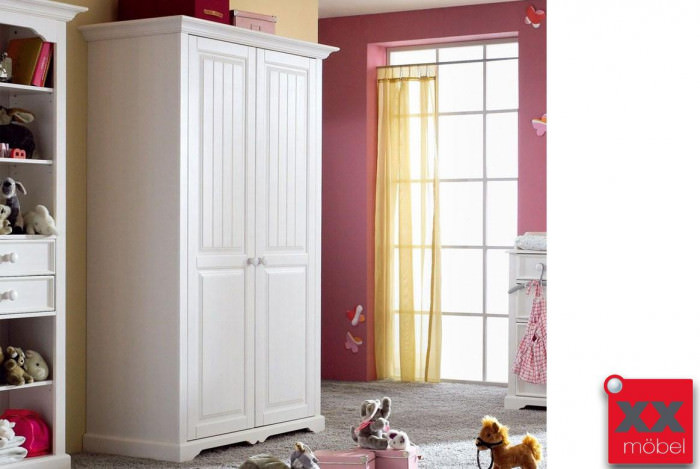 kleiderschrank landhausstil weiss cinderella kiefer t50. Black Bedroom Furniture Sets. Home Design Ideas
