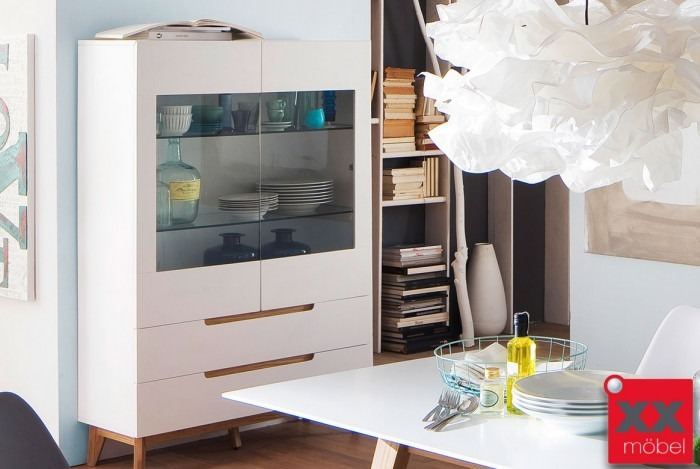 Highboard | Cervo | weiß - Asteiche | T06