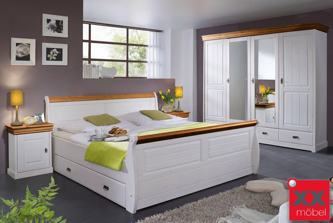 Schlafzimmer kiefernholz linea komplett wei massivholz s03 for Schlafzimmer massivholz