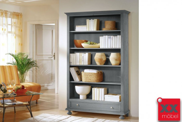Möbel landhausstil grau  Bücherregal Landhausstil grau | Alina | Regal Massivholz | T60