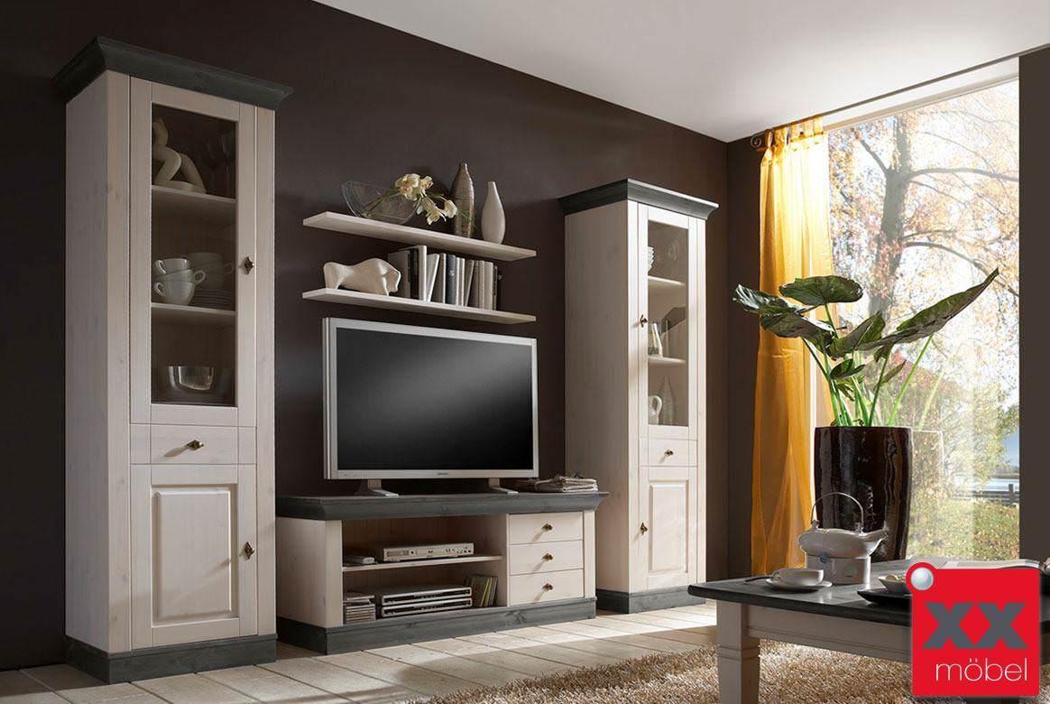 Wohnwand Weiß   Grau | 4 Tlg. | Linea | Kiefer Massivholz | W03