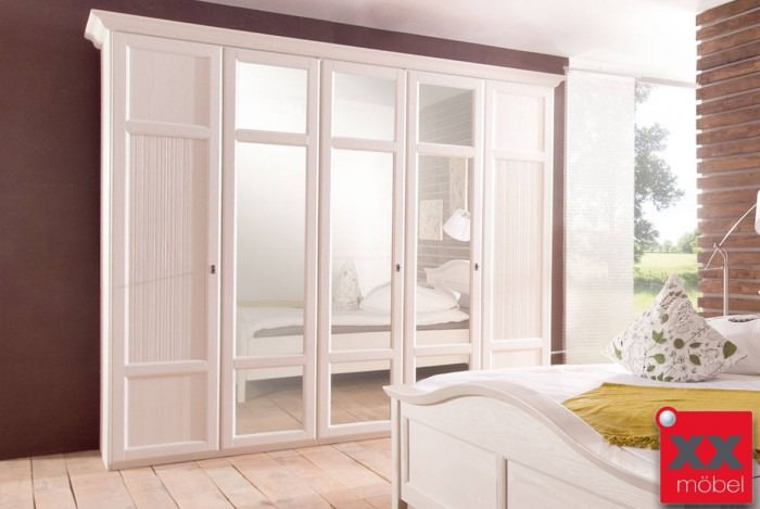 Kleiderschrank Landhausstil | Cinderella | Kiefer Massivholz Weiß D25
