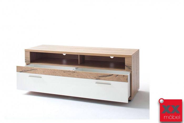 TV Lowboard | Nizza | weiß - Crackeiche | T30
